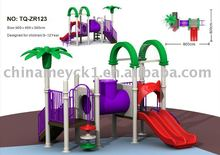 Backyard plastic swing set with slide
