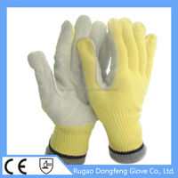 CE seamless kintted palm cow split leather and aramid metal stamping gloves