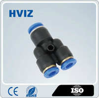 the high quality plastic quick connect pneumatic fittings of Yshape resuced tee fitting/HPYG-Y