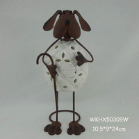 Table standing dog figurine ceramic candle holders wholesale
