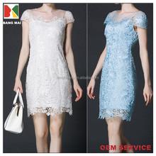 2015 nes fashion high quality embroidered short sleeve dress for women OEM service women's elegant evening dress