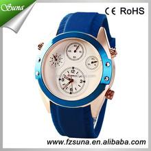 2015 Wholesale Price Silicone Curren Watch Big Dial Round Analog Quartz Watch