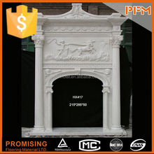 100% Hand Carved Marble wood burning cast iron outdoor fireplace