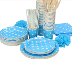 12 People Using Colorful Polka Dot Design For Children Birthday And Christmas Party Decoration Paper Tableware items