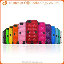 Olja silicone case for iphone 6, high quality silicone with pc case for iphone 6, durable rhinestone silicone case