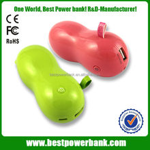 HC-S1 portable peanuts shape wholesale cell phone charger fashion 5200mah power bank