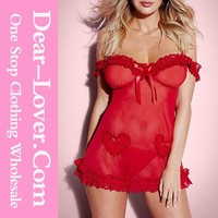 Sex Girls Photos Open Valentine Cupid Off-shoulder Red Babydoll