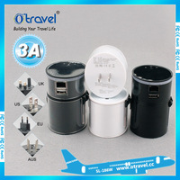 usb and wifi port with Copper+ABS good qualty universal travel adapter multi plugs