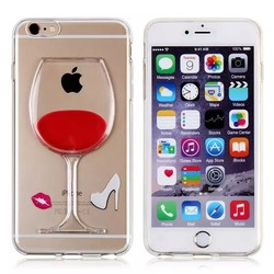 3D Moveable Liquid Beer Wine Glass Cocktail Hard Case Cover for Apple iPhone 6