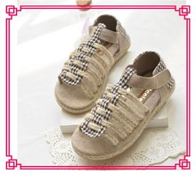 Hand-made fashion jute lady shoes summer hemp rope sandals