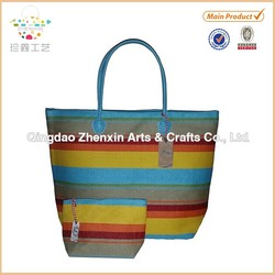Large Fashion Beach Bag Straw Look Tote w/ Zipper Top Combo with Matching Pouch