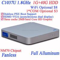 Low Powered slim pcs using Intel Celeron dualcore C1037U 1.8GHz cpu full alluminum 29mm extreme ultra-thin case 1G RAM 40G HDD