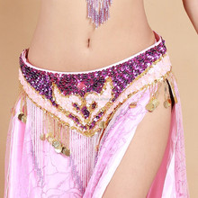 Beautiful sequins and beads embellished performing belly dance belt