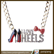 European fashion design exaggerated red high-heeled shoes and alphabet rhinestone chain necklace