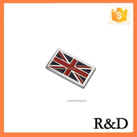 ABS Checkered Country National Flag Decoration Car Emblem Badge Sticker Nameplate Logo Decal For United Kingdom