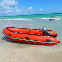 Red Pvc Tarpaulin Inflatable Boat With Motor