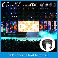 P18.75mm High brightness long life Video oled flexible display curtain