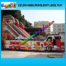 Funworld Commercial Fire Fighting Truck Inflatable Slide, Dry Inflatable Fire Car Slide For Sale (FUNDS1-033)