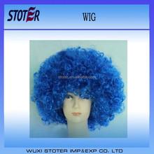 wholesale football fan wig blue