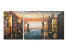 100% handmade Modern sunset in venice painting wall pictures for living room