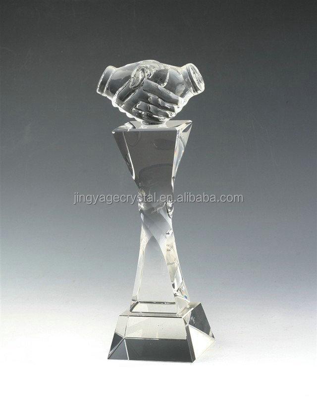 Handshake Crystal Trophy