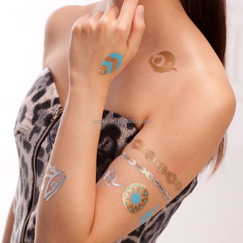 Fashion Jewelry Temporary Tattoos Gold Foil Necklace Tattoo Sticker ...