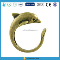 Vintage Gold Tone Dolphin Shaped Adjustable Animal Wrap Ring