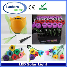 2016 Plastic Colourful Tulip outdoor Landscaping decorative customized led solar rose flower lights lighting JD-140A
