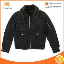Jacket Faux Fur Collar Lining Slim Fit Black Bomber Jacket