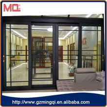 2015 New style aluminium profile slidiing door and window double glass with grid in Guangzhou