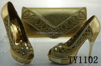 High quality Gold ladies matching shoes and bags set,african sexy high heel shoes beautiful design, 13 cm high heel shoes
