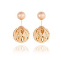 Fashion brand jewelry new hot Plating Gold High quality Charming Metal Round Double ball Stud Earrings Channel earring 11A2