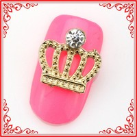 SH469 Hot Sale 12*12mm Gold-Plated 3d Nail Art Decorations Nail Accessories Metal Crown Designs Nail Beauty Salon