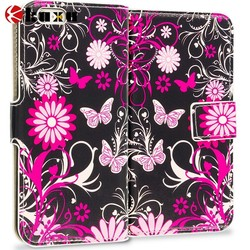 Pink Butterfly Leather Wallet Pouch Case Cover with Slots for Apple iPhone 6 Plus
