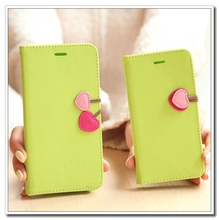 2015 New wholesale cherry PU Wallet Leather gift Mobile phone Case/cover for girls iphone5/5s