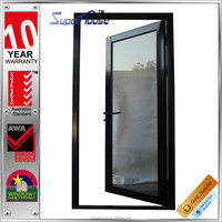 Double glazed swing style commercial aluminum doors with as2047 certificate