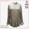 Simple office lady corporate lady long sleeve shirt collar silver satin blouse