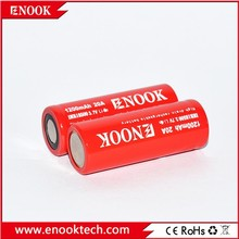 Enook imr 18500 1200mAh 20A 3.7V high drain rechargeable Li-Mn battery with flat top 18500 3.7v lithium ion polymer battery