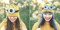 TF-02150906003 Despicable Me minion hat wool knitted winter fashion hats for girls