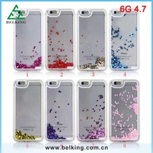 TPU Soft Frame For iPhone 6 Plastic Heart Bling Floated Case For iPhone 6 Mobile