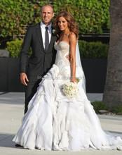 Luxurious 2015 White Organza Chiffon Vestido de Noiva Longo Bridal Gown Crystal Beaded Fascinated Women Mermaid Wedding Dresses