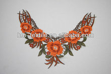orange rose embroidery rayon neck lace water soluble collar