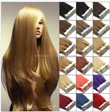 """24"""" 60cm Tape In Remy Real Human Straight Hair Extensions 20pcs 50g Black Color"""