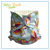 Hot Sale Butterfly Cartoon Printed Super Absorbent Reusable Baby Pocket Cloth Diaper