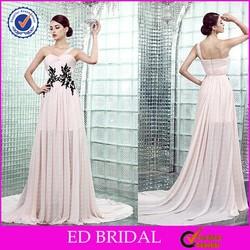 Cheap Criss-cross One-shoulder Black Lace Appliqued Draped Lace Ladies Long Party Wear Evening Gown