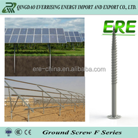 Solar PV mounting system structure holding ground screw pile with flange