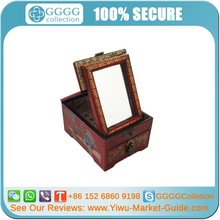 Red Painted Chinese Antique Wedding Wood Jewelry Dressing Case Box with Mirror WHOLESALE