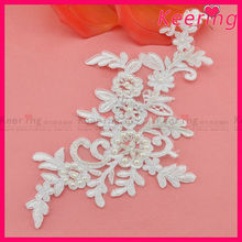new design lace motif cotton flower applique with pearls WLS-530