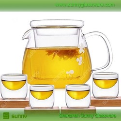 Glass tea pot set for wholesale