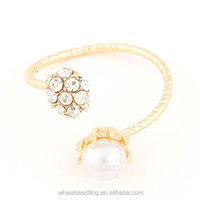 2014 Ready Goods Shining Gold Pearl Ring Opening&Personality With Diamond&Pearl At Size 5mm For Women